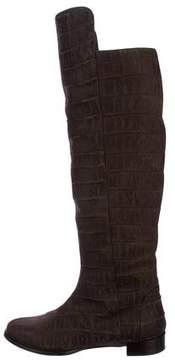 Alberta Ferretti Embossed Leather Knee-High Boots
