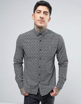 Farah Slim Fit Paisley Shirt In Black