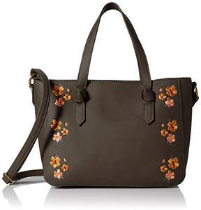 T-Shirt & Jeans Mini Satchel with Floral Embroidery