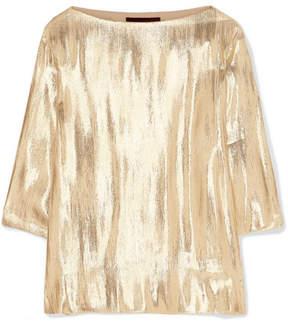 Vanessa Seward Lightning Silk-blend Lamé Top - Gold