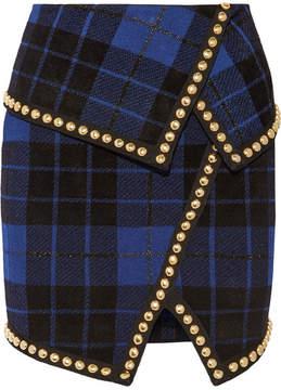 Balmain Asymmetric Embellished Tartan Jacquard-knit Mini Skirt - Black