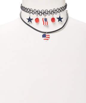 Carole Stars & Stripes Charm Tattoo Choker Necklace