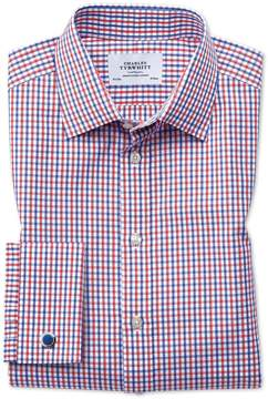 Charles Tyrwhitt Slim Fit Two Color Check Red and Blue Cotton Dress Shirt French Cuff Size 15/34
