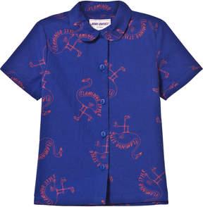 Bobo Choses Mazarine Blue Flamingo Girl Shirt