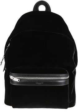 Saint Laurent Mini Velvet City Backpack - NERO - STYLE