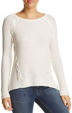 Design History Shark Bite Lace-Up Ribbed Sweater
