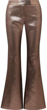 Rachel Zoe Bruno Grosgrain-trimmed Metallic Jacquard Flared Pants - Bronze