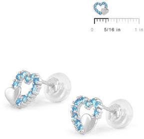 Ice 14K White Gold Double Hearts Girls' Stud Earrings