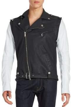 Pierre Balmain Two-Tone Asymmetrical Zip Moto Jacket