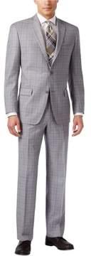 Michael Kors Classic Plaid Two Button Suit Grey 40x38