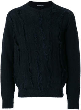 Issey Miyake textured front V-neck sweater