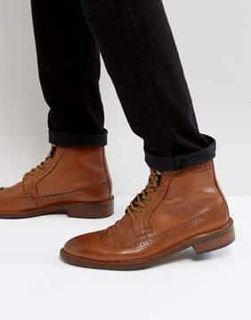 Dune Pebble Brogue Boots In Tan
