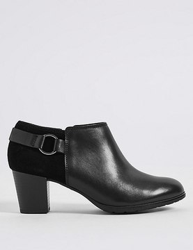 Marks and Spencer Leather Block Heel Side Zip Shoe Boots