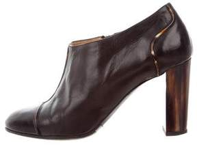 Dries Van Noten Leather Round-Toe Booties