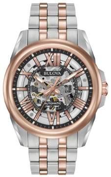 Bulova Automatic 98A166 Black/Two-Tone Analog Automatic Men's Watch