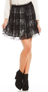 Copper Key Lace Gingham Fit-and-Flare Skirt