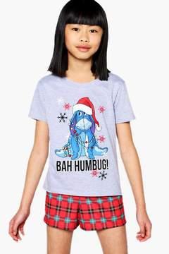 boohoo Girls Disney Eeyore Bah Humbug Tee & Shorts Set