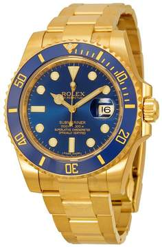 Rolex Submariner Blue Dial 18K Yellow Gold Oyster Bracelet Automatic Men's Watch