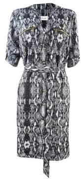 Calvin Klein Women's Belted Snake Print Shirtdress (6, Black/Eggshell)