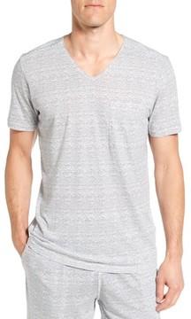 Daniel Buchler Men's Feeder Stripe Pima Cotton & Modal V-Neck T-Shirt
