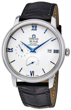 Omega De Ville Prestige Silver Dial Men's Leather Watch