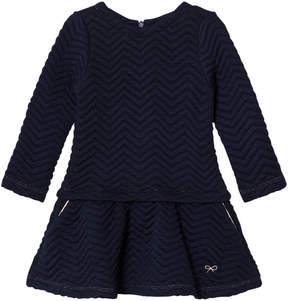 Lili Gaufrette Navy Quilted Star Jersey Dress