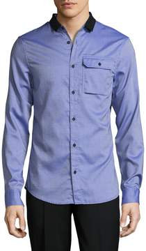 Armani Exchange Men's Spread Collar Cotton Sportshirt