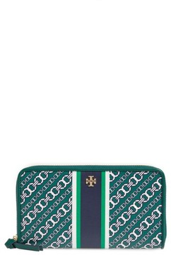 Tory Burch Women's Gemini Link Coated Canvas Continental Wallet - Green - BLUE - STYLE