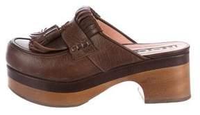 Rochas Leather Kiltie Mules
