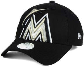 New Era Women's Miami Marlins Glitter Glam 9FORTY Strapback Cap