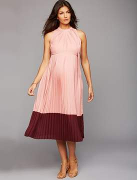 A Pea in the Pod Pleated Halter Maternity Dress