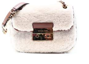 Michael Kors White Shearling Leather Sloan Chain Shoulder Bag Purse - WHITES - STYLE