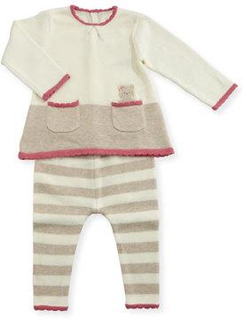 Mayoral Bear-in-Pocket Knit Dress w/ Striped Leggings, Size 1-12 Months