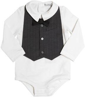 Cotton Jersey Bodysuit & Pinstripe Bib