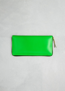 Comme des Garcons WALLET green super fluo leather line large zip around wallet