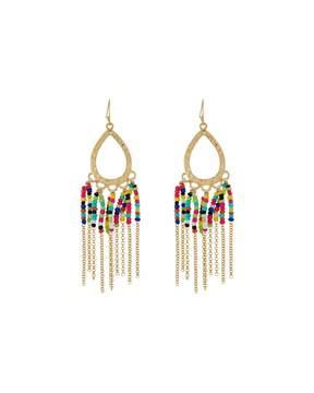 Fragments for Neiman Marcus Seed Bead Fringe Dangle Earrings, Golden Multi