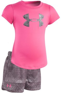 Under Armour Baby Girl Logo Graphic Tee & Striped Shorts Set