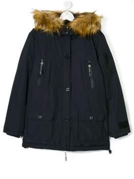 Diadora Junior faux fur hooded coat