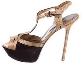 Sergio Rossi Metallic Slingback Sandals