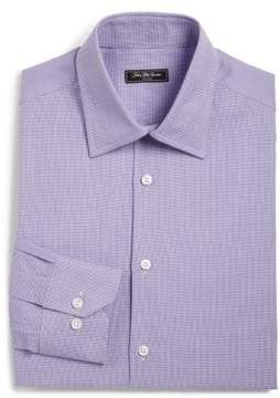 Saks Fifth Avenue COLLECTION Regular-Fit Cotton Houndstooth Dress Shirt