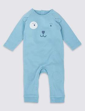 Marks and Spencer Bear Applique Pure Cotton All in One