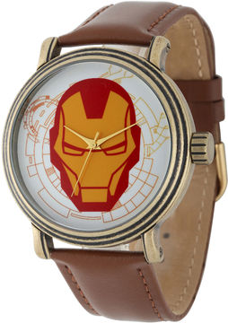 Marvel Vintage Captain America Mens Brown Leather Strap Watch