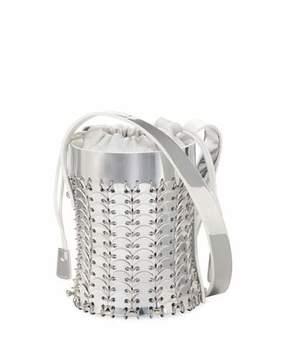 Paco Rabanne 1401 Chain-Link Mini Mirrored Leather Bucket Bag