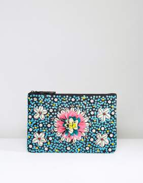 Glamorous Beaded Shell and Flower Clutch Bag