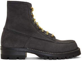 Lanvin Grey Suede Lace-Up Boots
