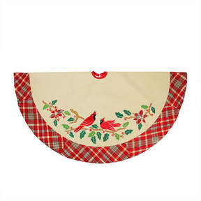 Asstd National Brand 48 Country Cabin Embroidered Cardinal Birds Christmas Tree Skirt with Red Plaid Border