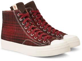 Visvim Skagway Suede-Trimmed Checked Wool High-Top Sneakers