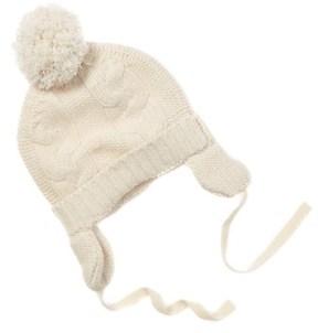 Baby CZ Kid's Creme Cashmere Pom Pom Hat.