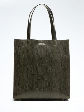 Portfolio Structured Tall Snake-Effect Leather Tote