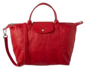 Longchamp Le Pliage Cuir Medium Leather Top Handle. - CHERRY - STYLE